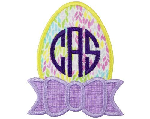 Pretty Easter Egg Monogrammed Patch - Sew Lucky Embroidery