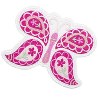 Pretty Pink Paisley Butterfly Patch - Sew Lucky Embroidery