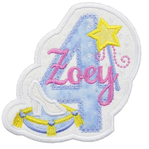 Princess Birthday Personalized Number Patch - Sew Lucky Embroidery