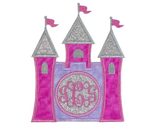 Princess Castle Monogram Patch - Sew Lucky Embroidery