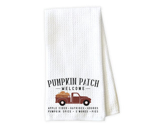 Pumpkin Patch Truck Kitchen Towel - Waffle Weave Towel - Microfiber Towel - Kitchen Decor - House Warming Gift - Sew Lucky Embroidery