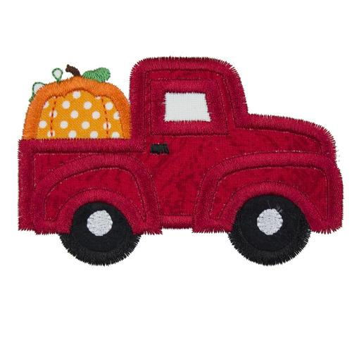 Pumpkin Truck Embroidered Patch - Sew Lucky Embroidery