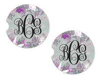 Purple Floral Sandstone Car Coasters - Sew Lucky Embroidery