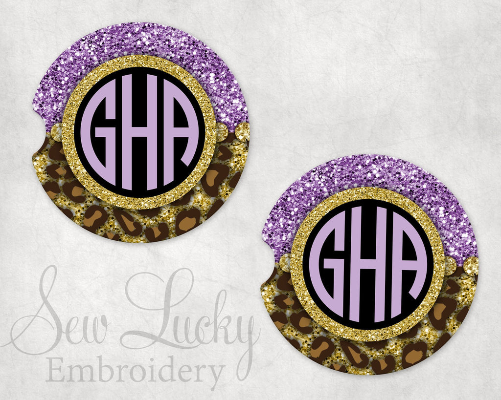Purple Leopard Frame Sandstone Car Coasters - Sew Lucky Embroidery