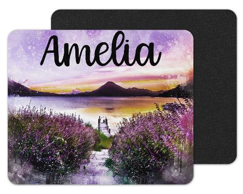 Purple Sunset Custom Personalized Mouse Pad - Sew Lucky Embroidery