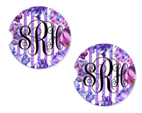 Purple Tulips Personalized Sandstone Car Coasters - Sew Lucky Embroidery
