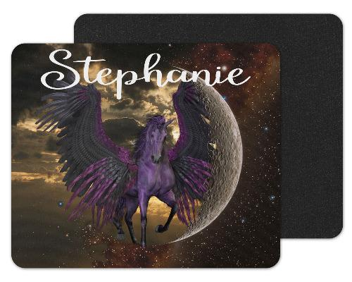 Purple Unicorn Custom Personalized Mouse Pad - Sew Lucky Embroidery