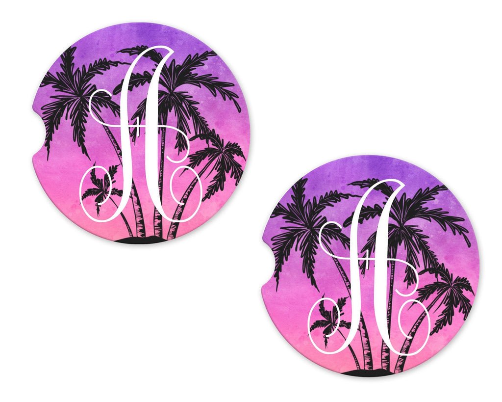 Purple with Trees Sandstone Car Coasters - Sew Lucky Embroidery