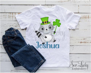 Raccoon with Clover Personalized Shirt - Sew Lucky Embroidery
