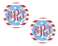 Red White and Blue Sandstone Car Coasters - Sew Lucky Embroidery
