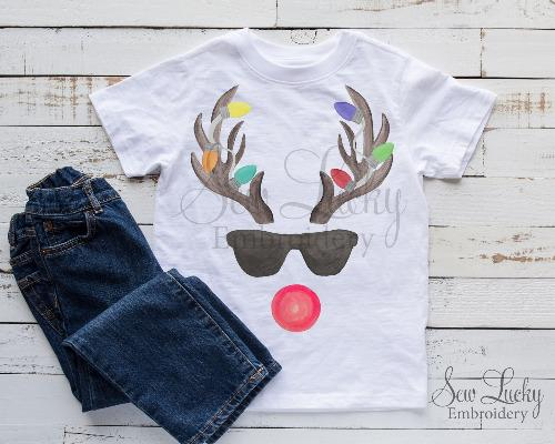 Reindeer Antlers with Christmas Lights Shirt s - Sew Lucky Embroidery