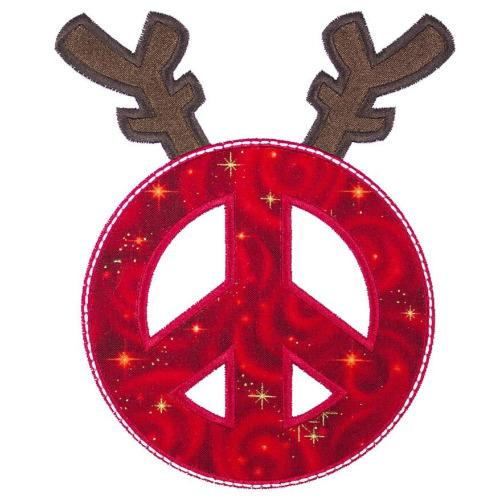 Reindeer Peace Sign Patch - Sew Lucky Embroidery