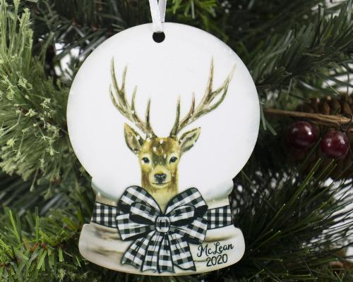 Reindeer Snow Globe Christmas Ornament Personalized - Sew Lucky Embroidery