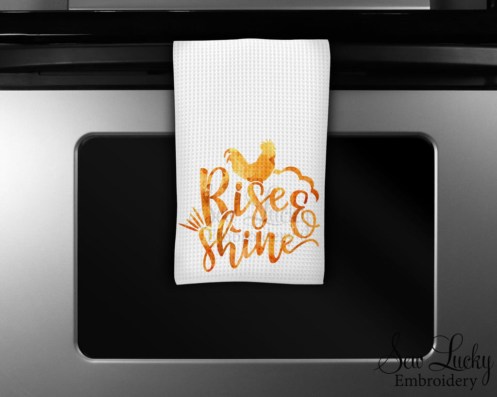 Rise and Shine Kitchen Towel - Microfiber Towel - Kitchen Decor - House Warming Gift - Sew Lucky Embroidery