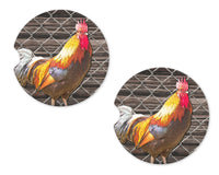Rooster inside Fence Sandstone Car Coasters - Sew Lucky Embroidery