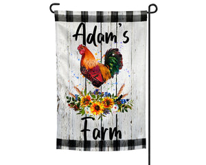 Rooster with Flowers Personalized Garden Flag