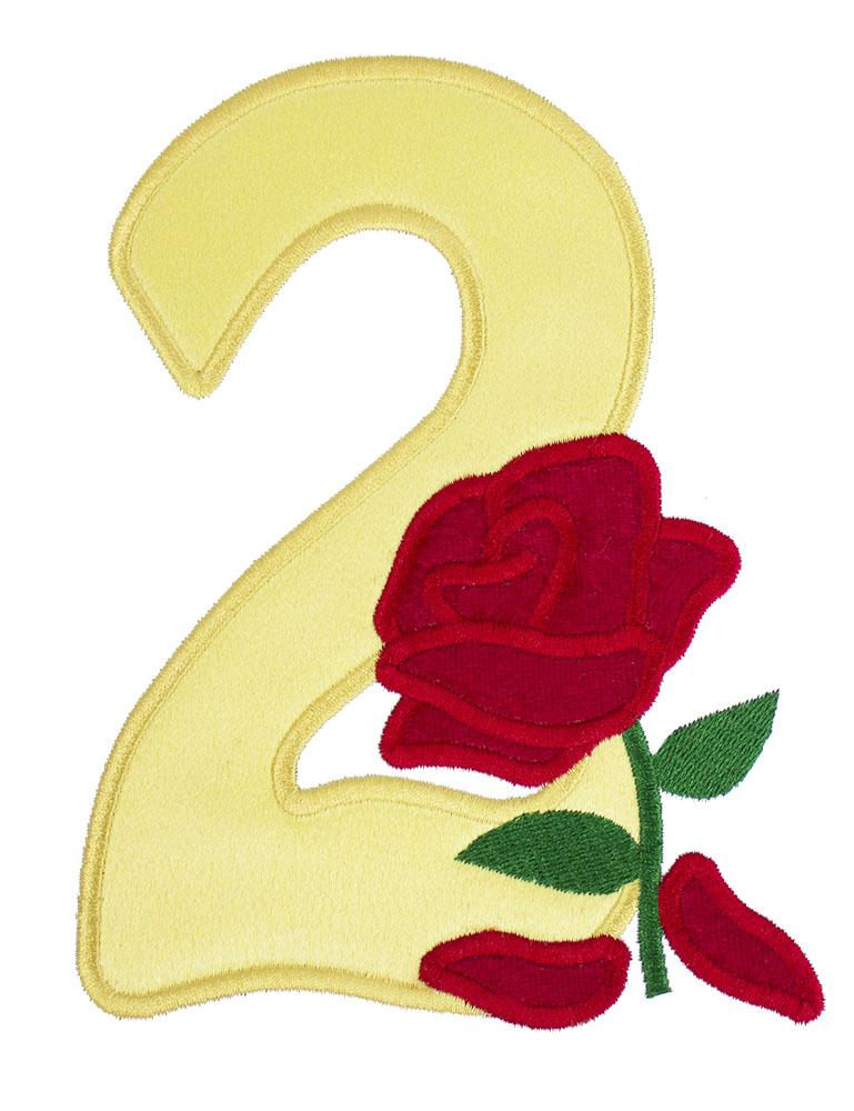 Rose Birthday Number Patch - Sew Lucky Embroidery
