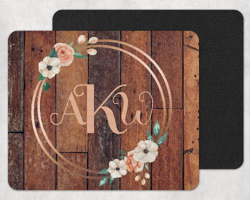 Rustic Wood and Flowers in Gold Frame Custom Monogrammed Mouse Pad - Sew Lucky Embroidery