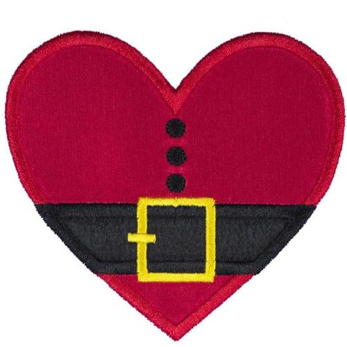 Santa Heart Patch - Sew Lucky Embroidery