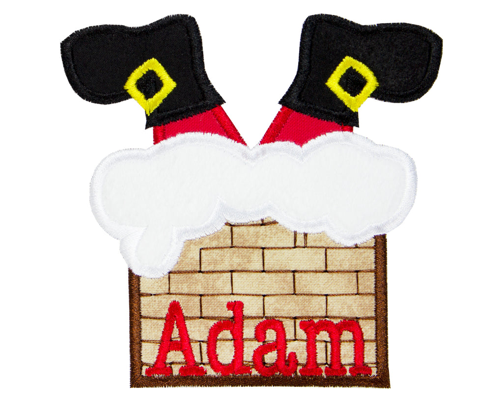 Santa Down the Chimney Personalized Patch