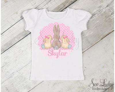 Scalloped Girl Bunny Trio Girls Personalized Shirt