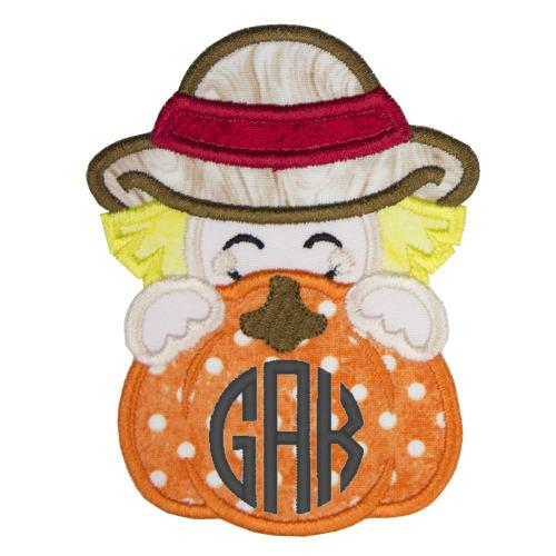 Scarecrow Pumpkin Peeker Monogrammed Patch - Sew Lucky Embroidery