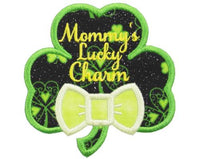 Shamrock with Mommy's Luck Charm Patch - Sew Lucky Embroidery