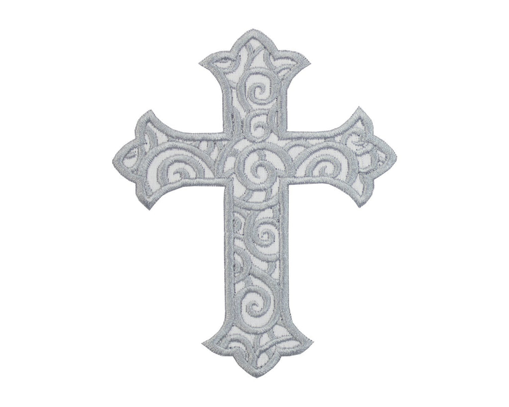 Silver Cross Patch - Sew Lucky Embroidery