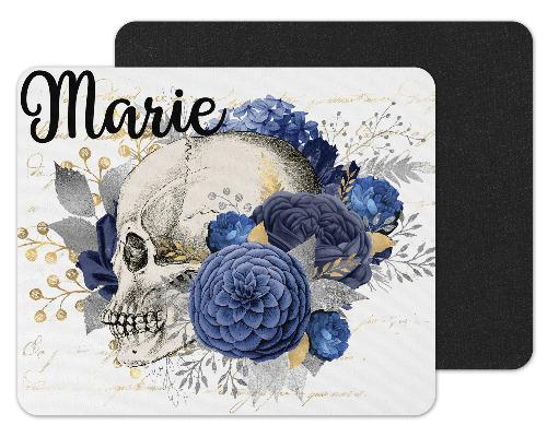 Skull with Blue Flowers Custom Personalized Mouse Pad - Sew Lucky Embroidery