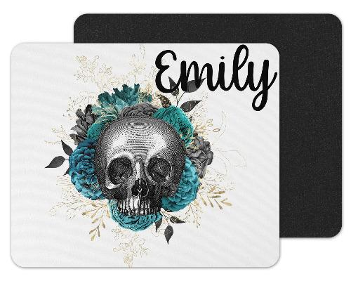 Skull with Teal Floral Custom Personalized Mouse Pad - Sew Lucky Embroidery