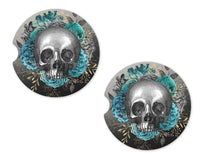 Skull with Teal Roses Sandstone Car Coasters - Sew Lucky Embroidery