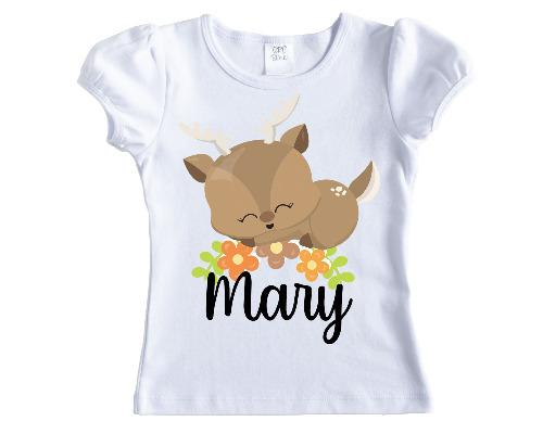 Sleeping Cartoon Deer Girls Personalized Shirt - Sew Lucky Embroidery