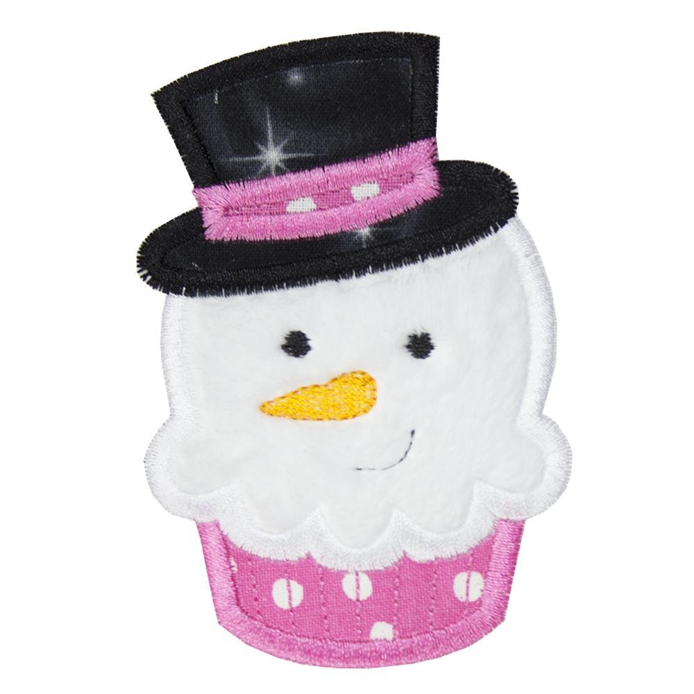 Snowman Christmas Cupcake with Sparkly Hat Patch - Sew Lucky Embroidery