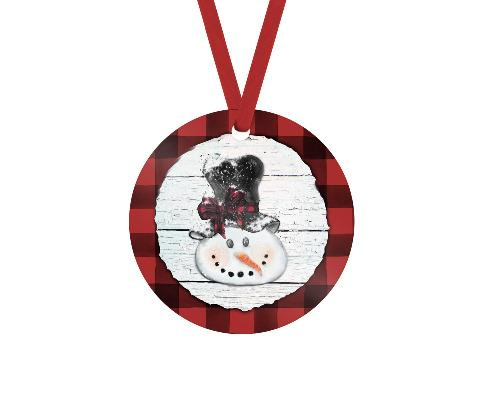 Snowman Red Buffalo Plaid Trim Christmas Ornament - Sew Lucky Embroidery