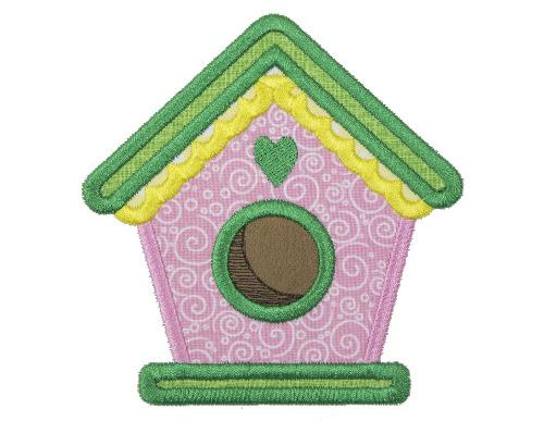 Spring Bird House Patch - Sew Lucky Embroidery