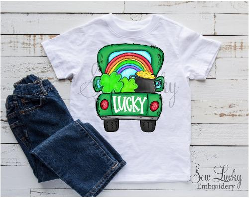 St Patrick's Day Lucky Truck Shirt - Sew Lucky Embroidery