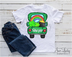 St Patricks Day Truck with Rainbow Personalized Shirt - Sew Lucky Embroidery