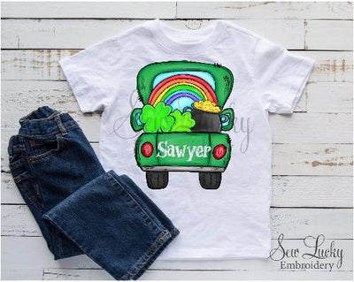 St Patricks Day Truck with Rainbow Personalized Shirt