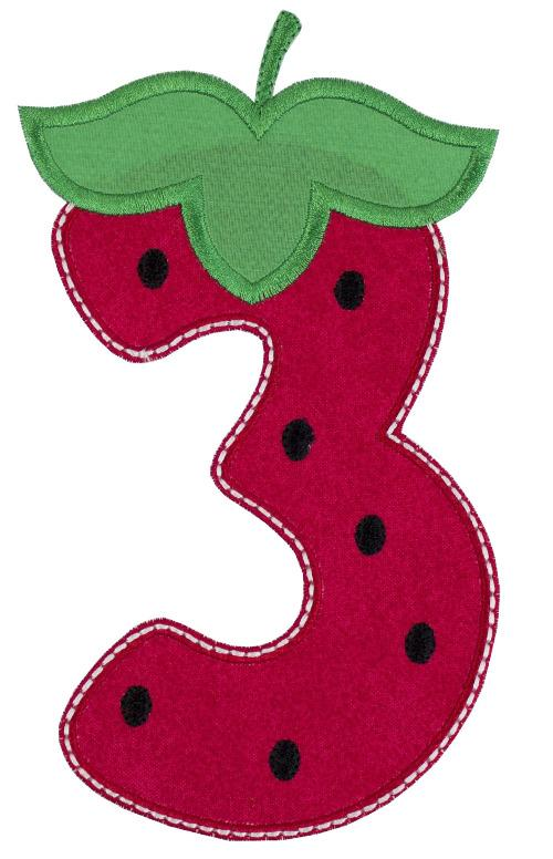 Strawberry Birthday Number Patch - Sew Lucky Embroidery