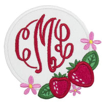 Strawberry Monogrammed Patch - Sew Lucky Embroidery