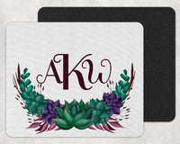 Succulents Personalized Custom Monogram Mouse Pad - Sew Lucky Embroidery
