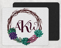 Succulents Wreath Personalized Custom Monogram Mouse Pad - Sew Lucky Embroidery