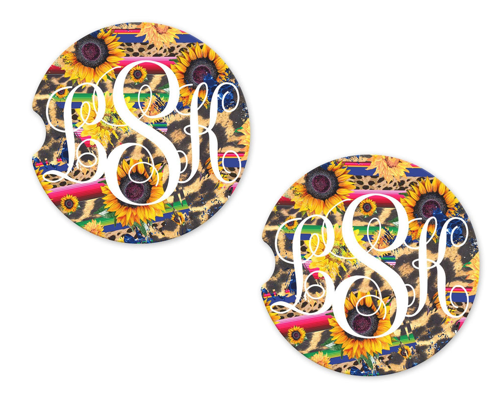 Sunflower and Cheetah Print Personalized Sandstone Car Coasters - Sew Lucky Embroidery