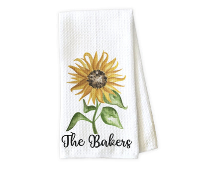 Sunflower Personalized Waffle Weave Microfiber Kitchen Towel