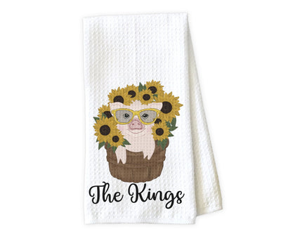 Sunflowers and Pig Personalized Waffle Weave Microfiber Kitchen Towel