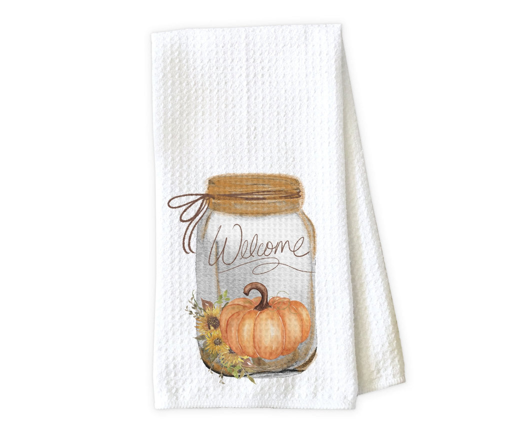 Sunflowers and Pumpkin Mason Jar Personalized Kitchen Towel - Waffle Weave Towel - Microfiber Towel - Kitchen Decor - House Warming Gift - Sew Lucky Embroidery
