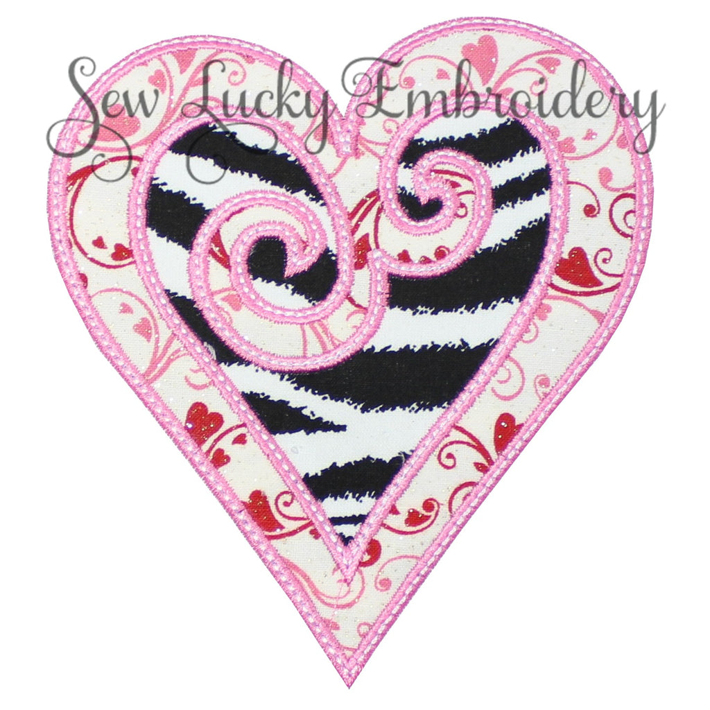 Swirl Zebra Heart Patch