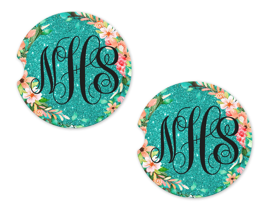 Teal Glitter with Floral Trim Personalized Sandstone Car Coasters - Sew Lucky Embroidery