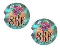 Teal Marquee and Gold Glitter Personalized Sandstone Car Coasters - Sew Lucky Embroidery
