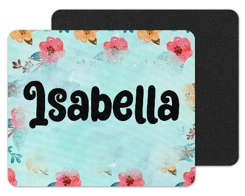 Teal with Flowers Custom Personalized Mouse Pad - Sew Lucky Embroidery